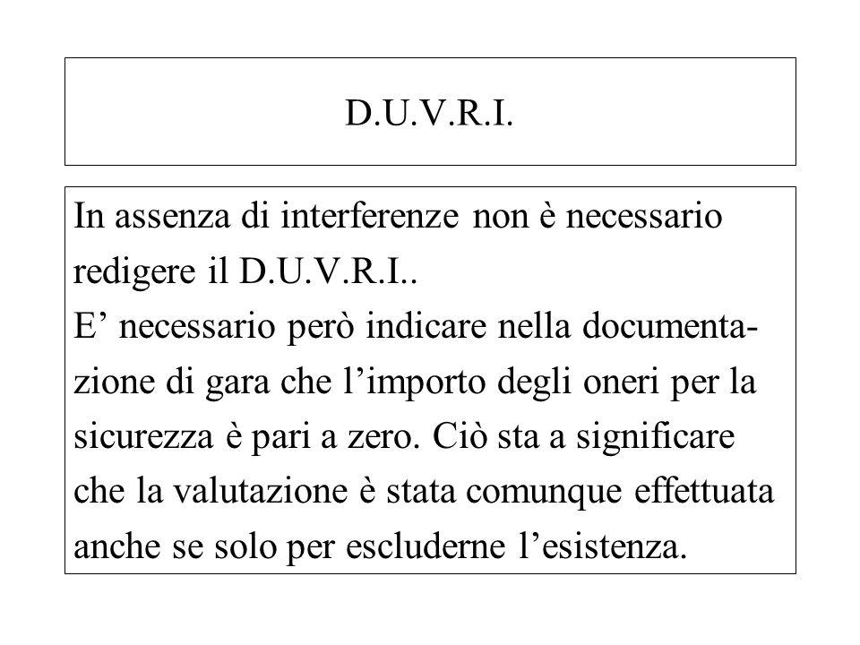 D.U.V.R.I. In assenza di interferenze non è necessario redigere il D.U.V.R.I.. E necessario però indicare nella documenta- zione di gara che limporto