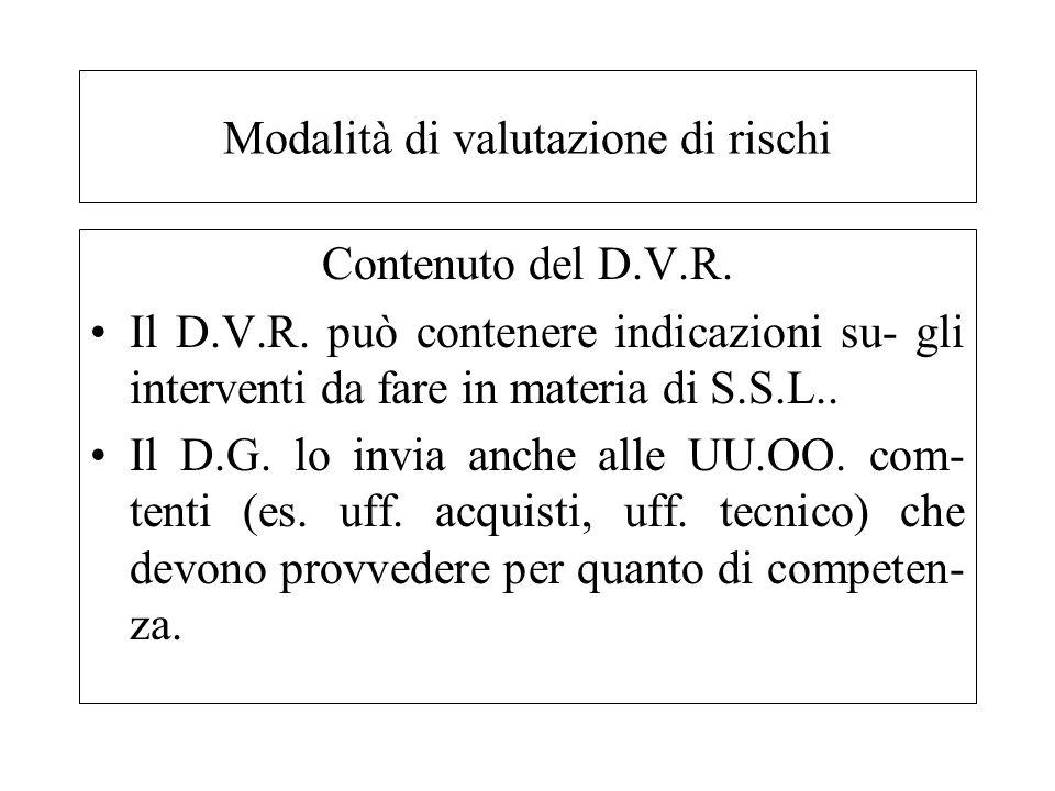 Contenuto del D.V.R. Il D.V.R. può contenere indicazioni su- gli interventi da fare in materia di S.S.L.. Il D.G. lo invia anche alle UU.OO. com- tent