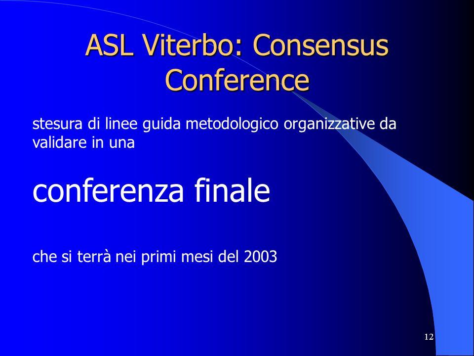 12 ASL Viterbo: Consensus Conference stesura di linee guida metodologico organizzative da validare in una conferenza finale che si terrà nei primi mesi del 2003