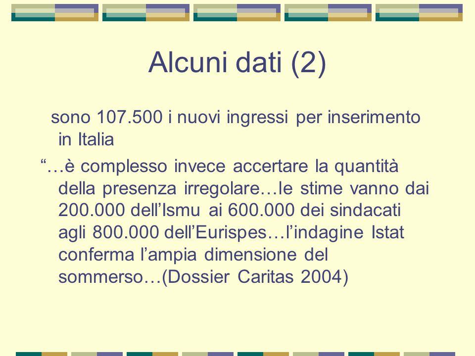 Alcuni dati (2) sono 107.500 i nuovi ingressi per inserimento in Italia …è complesso invece accertare la quantità della presenza irregolare…le stime v