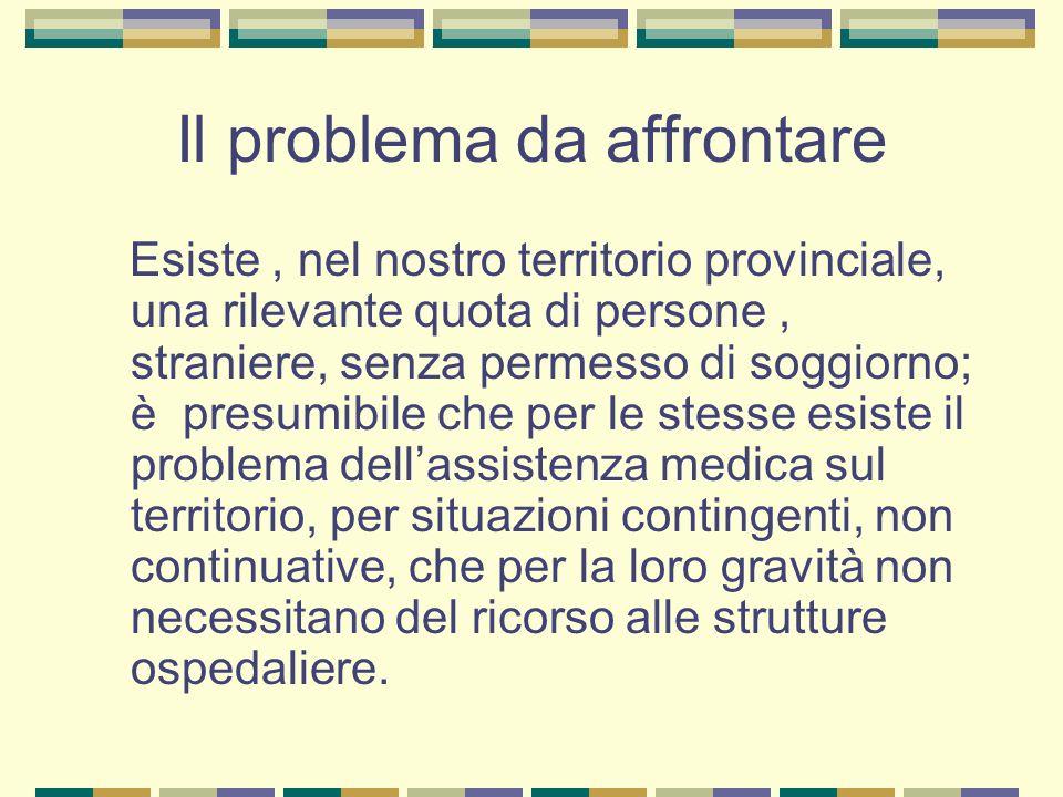 Il problema da affrontare Esiste, nel nostro territorio provinciale, una rilevante quota di persone, straniere, senza permesso di soggiorno; è presumi