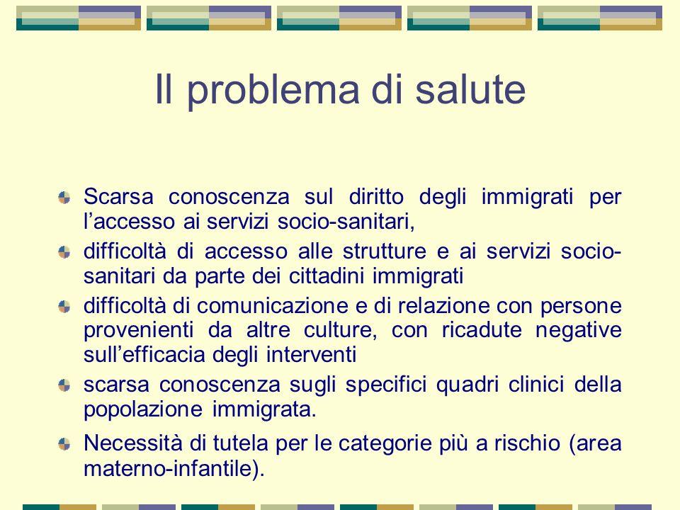 Il problema di salute Scarsa conoscenza sul diritto degli immigrati per laccesso ai servizi socio-sanitari, difficoltà di accesso alle strutture e ai