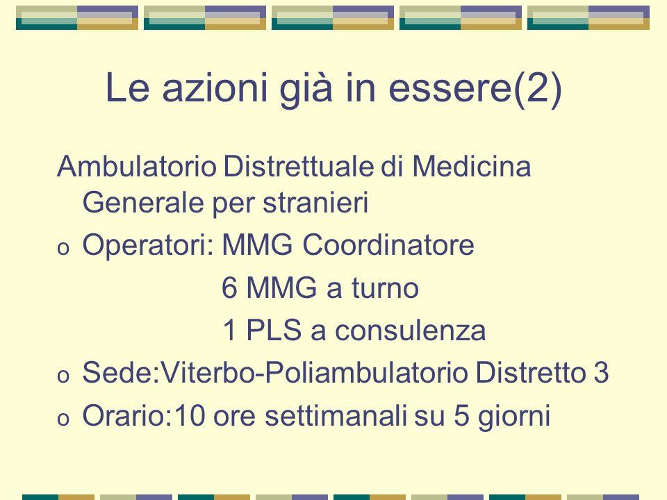 Le azioni già in essere(2) Ambulatorio Distrettuale di Medicina Generale per stranieri o Operatori: MMG Coordinatore 6 MMG a turno 1 PLS a consulenza