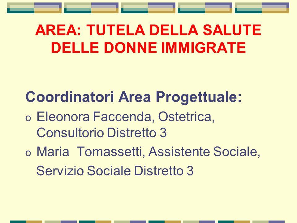 Coordinatori Area Progettuale: o Eleonora Faccenda, Ostetrica, Consultorio Distretto 3 o Maria Tomassetti, Assistente Sociale, Servizio Sociale Distre