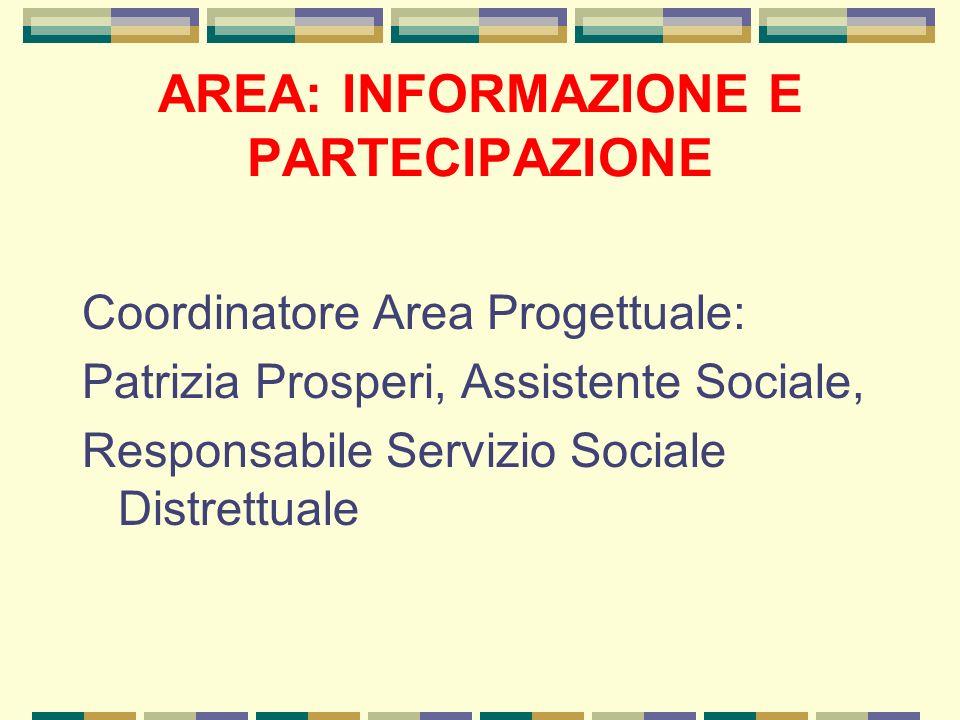 AREA: INFORMAZIONE E PARTECIPAZIONE Coordinatore Area Progettuale: Patrizia Prosperi, Assistente Sociale, Responsabile Servizio Sociale Distrettuale
