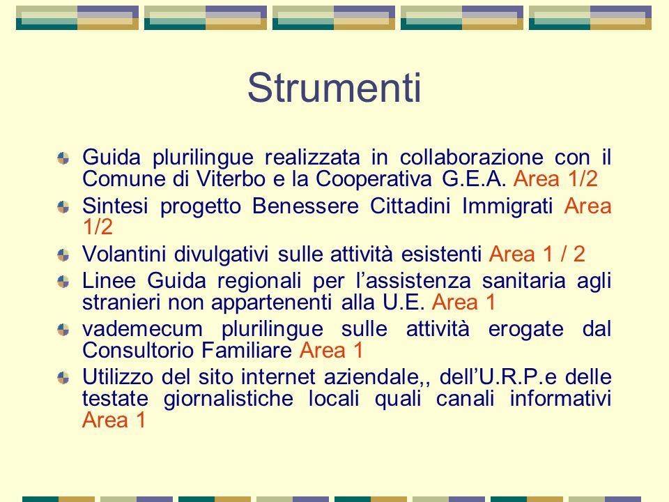 Strumenti Guida plurilingue realizzata in collaborazione con il Comune di Viterbo e la Cooperativa G.E.A. Area 1/2 Sintesi progetto Benessere Cittadin