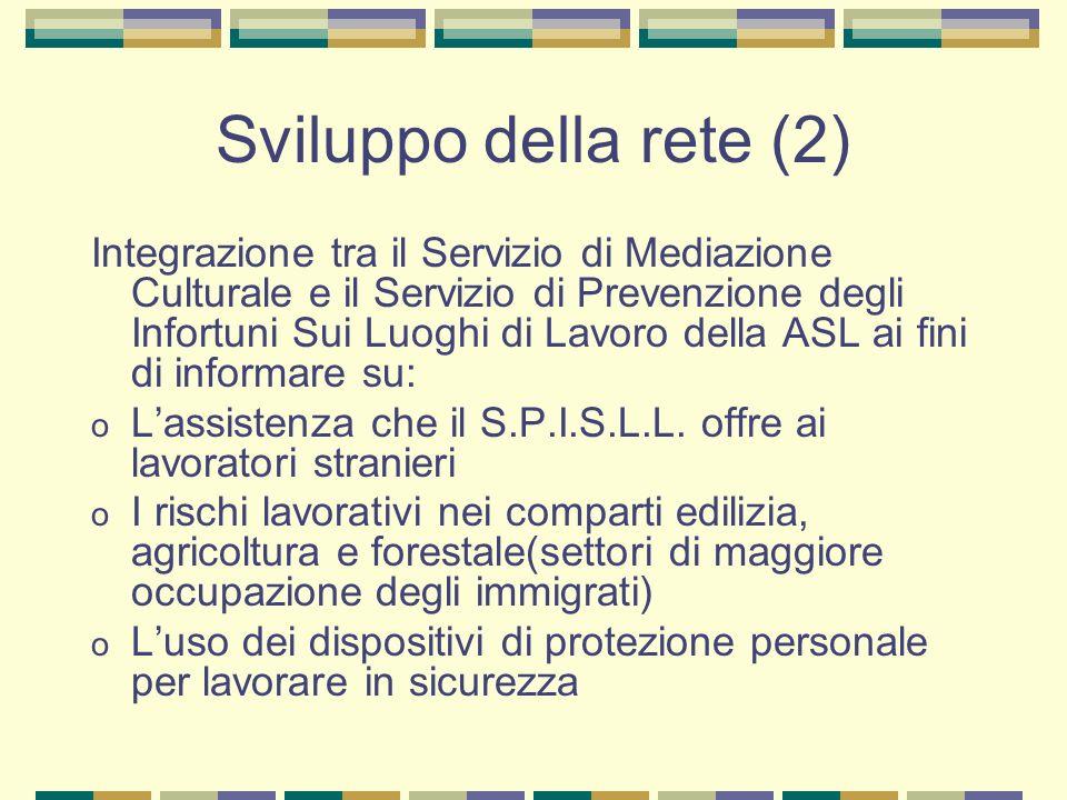 Sviluppo della rete (2) Integrazione tra il Servizio di Mediazione Culturale e il Servizio di Prevenzione degli Infortuni Sui Luoghi di Lavoro della A