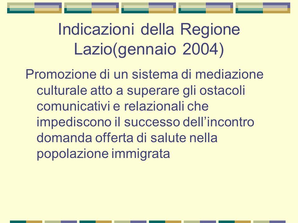 Indicazioni della Regione Lazio(gennaio 2004) Promozione di un sistema di mediazione culturale atto a superare gli ostacoli comunicativi e relazionali