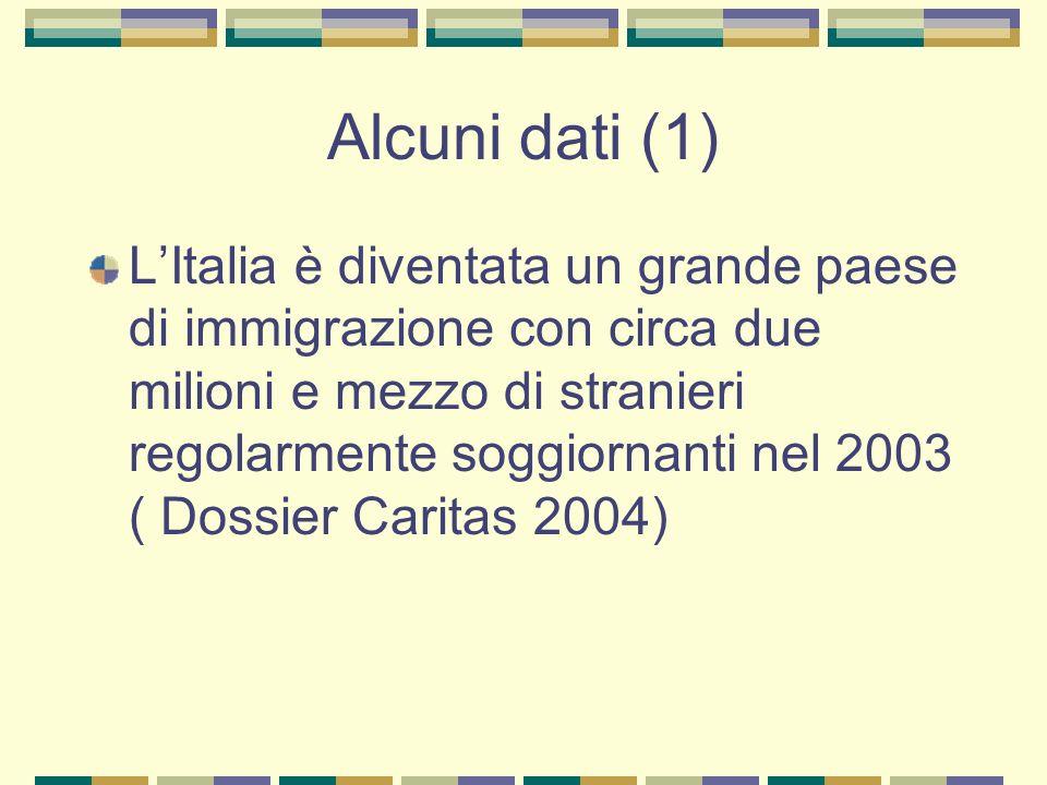 Alcuni dati (1) LItalia è diventata un grande paese di immigrazione con circa due milioni e mezzo di stranieri regolarmente soggiornanti nel 2003 ( Do