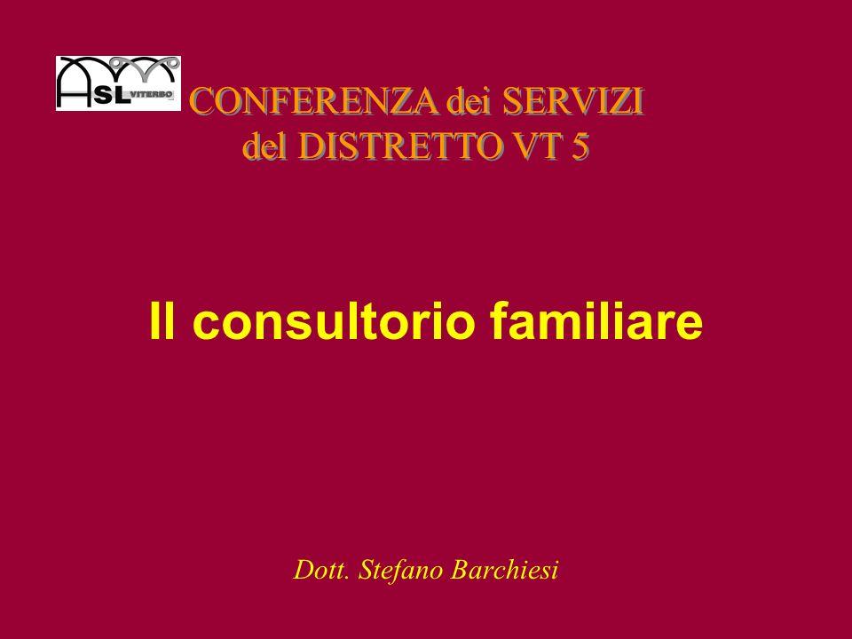 Il consultorio familiare Dott. Stefano Barchiesi CONFERENZA dei SERVIZI del DISTRETTO VT 5