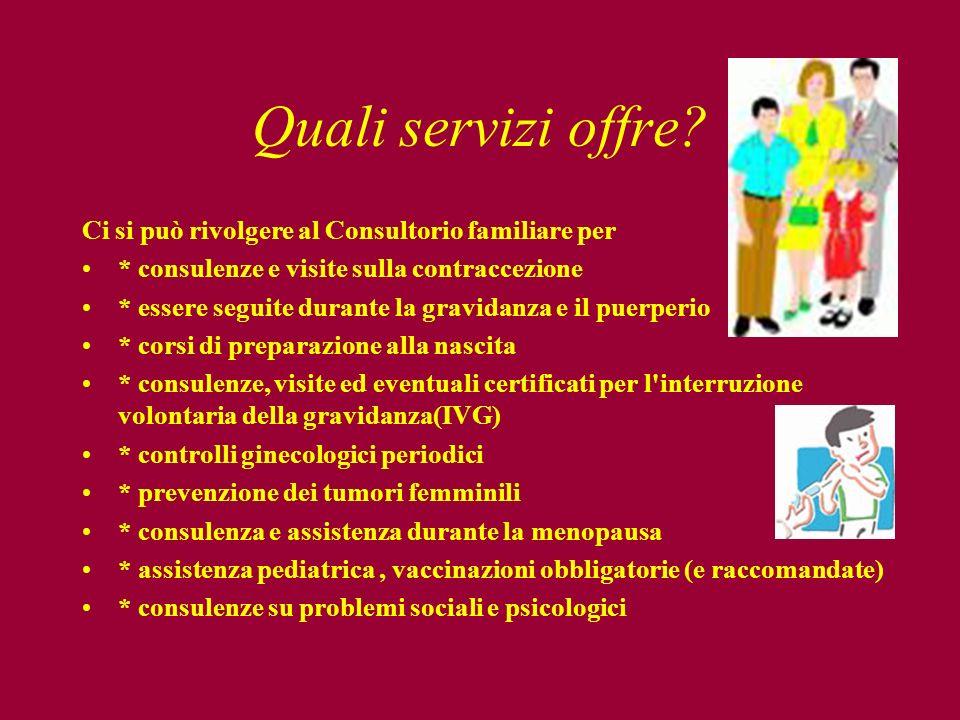Quali servizi offre? Ci si può rivolgere al Consultorio familiare per * consulenze e visite sulla contraccezione * essere seguite durante la gravidanz
