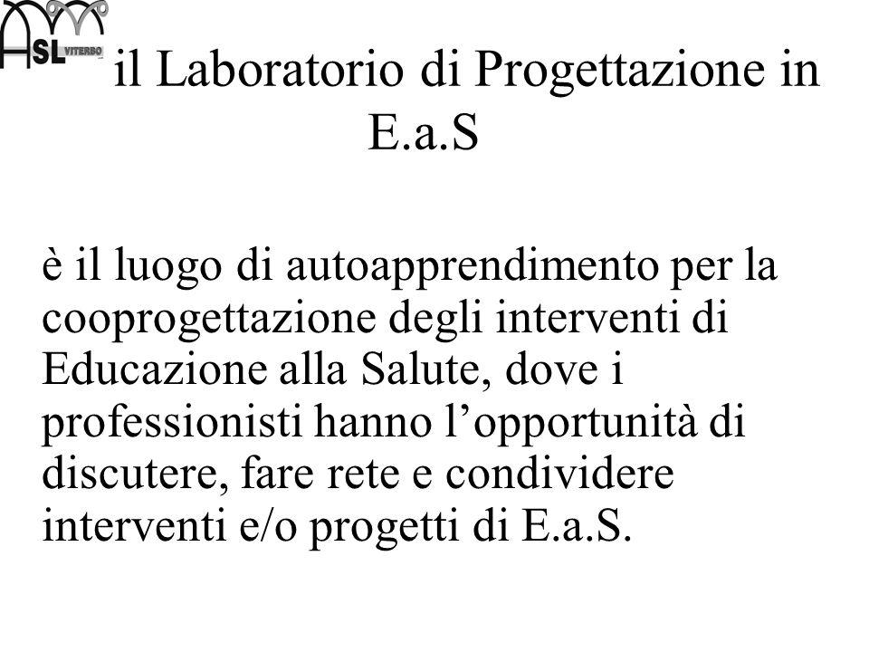 il Laboratorio di Progettazione in E.a.S è il luogo di autoapprendimento per la cooprogettazione degli interventi di Educazione alla Salute, dove i pr