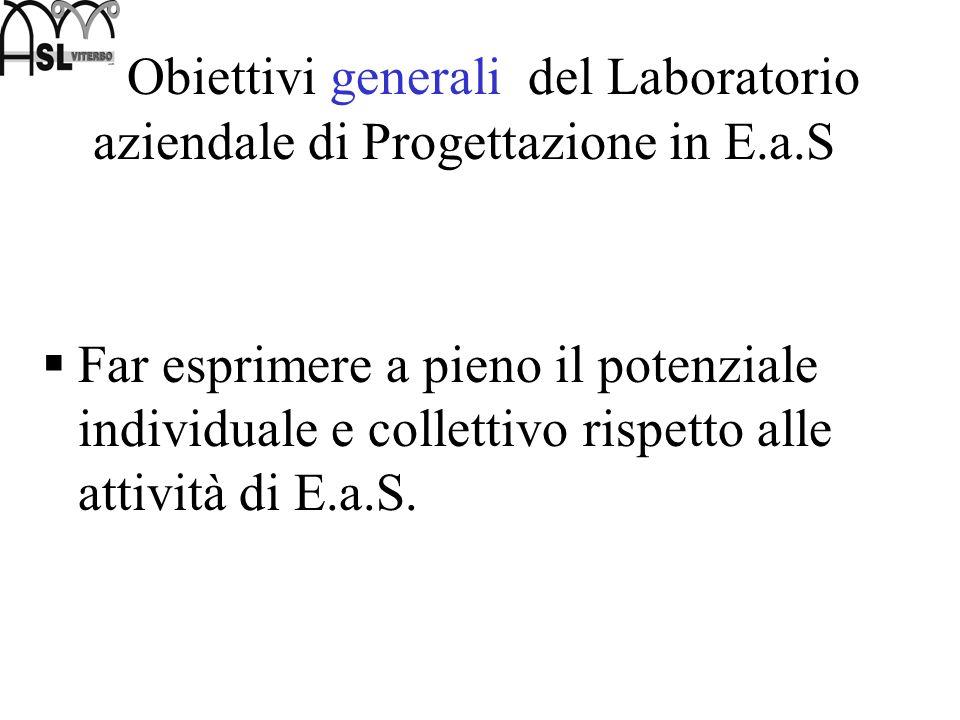 Obiettivi generali del Laboratorio aziendale di Progettazione in E.a.S Far esprimere a pieno il potenziale individuale e collettivo rispetto alle atti