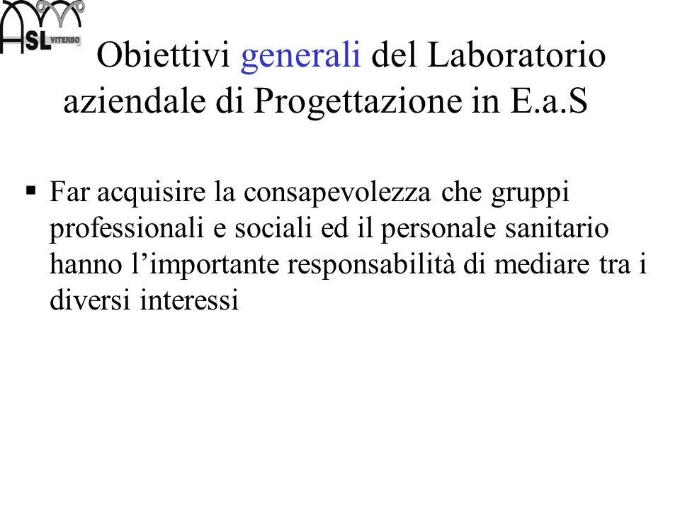 Obiettivi generali del Laboratorio aziendale di Progettazione in E.a.S Far acquisire la consapevolezza che gruppi professionali e sociali ed il person