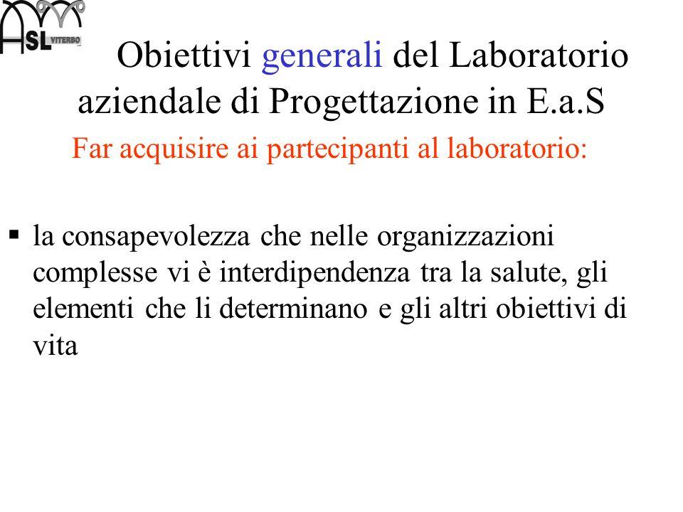 Obiettivi generali del Laboratorio aziendale di Progettazione in E.a.S Far acquisire ai partecipanti al laboratorio: la consapevolezza che nelle organ