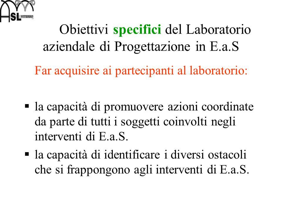 Obiettivi specifici del Laboratorio aziendale di Progettazione in E.a.S Far acquisire ai partecipanti al laboratorio: la capacità di promuovere azioni