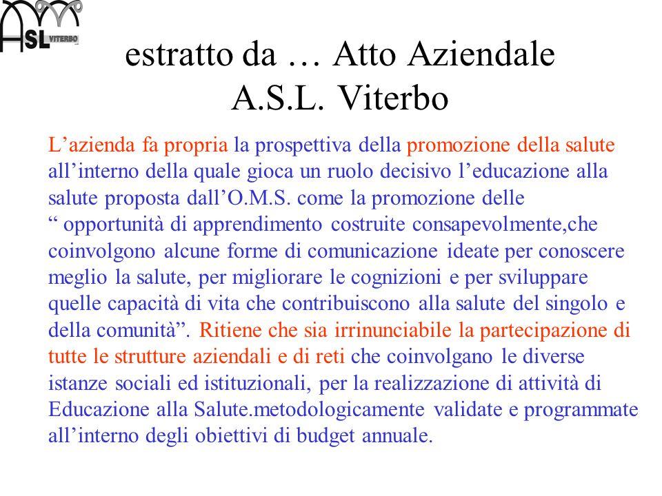 7 novembre 2003 nella ASL Viterbo nasce il laboratorio di progettazione in educazione alla salute