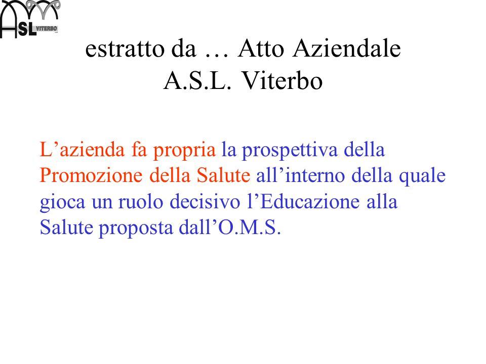 estratto da … Atto Aziendale A.S.L. Viterbo Lazienda fa propria la prospettiva della Promozione della Salute allinterno della quale gioca un ruolo dec