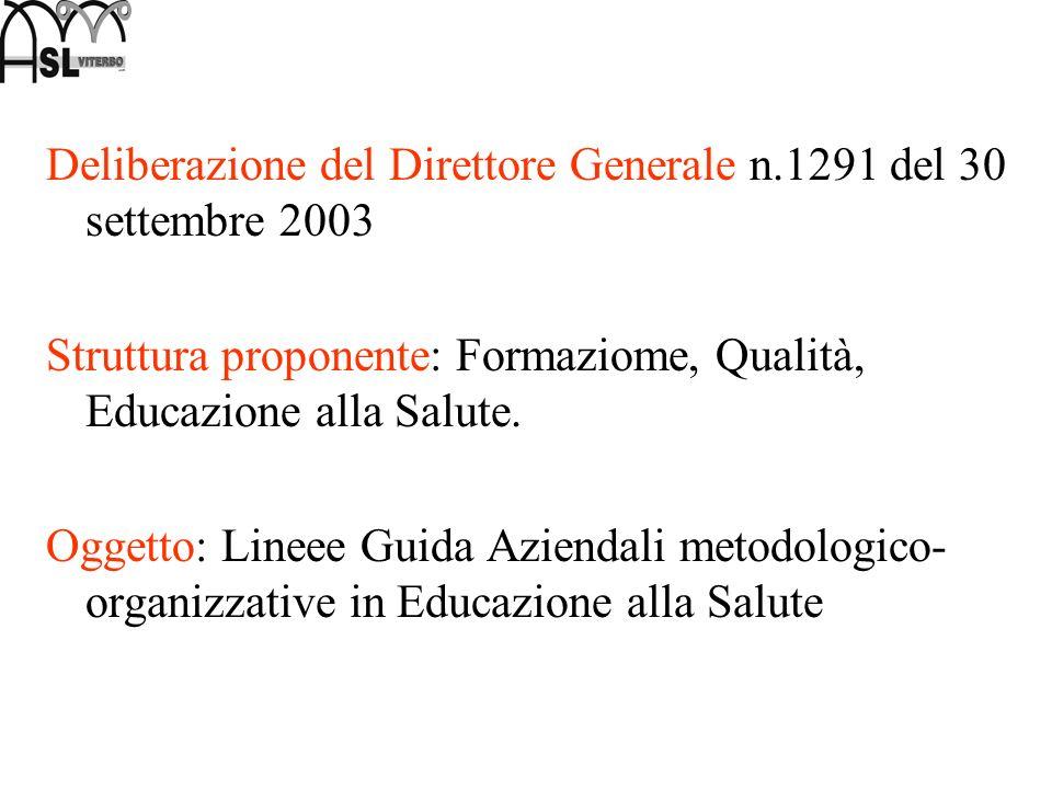 Deliberazione del Direttore Generale n.1291 del 30 settembre 2003 Struttura proponente: Formaziome, Qualità, Educazione alla Salute. Oggetto: Lineee G