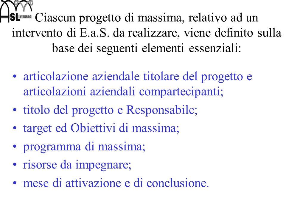 Ciascun progetto di massima, relativo ad un intervento di E.a.S. da realizzare, viene definito sulla base dei seguenti elementi essenziali: articolazi