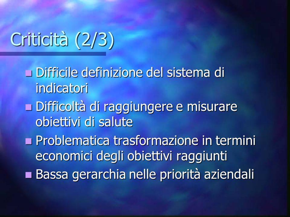 Criticità (2/3) Difficile definizione del sistema di indicatori Difficile definizione del sistema di indicatori Difficoltà di raggiungere e misurare o