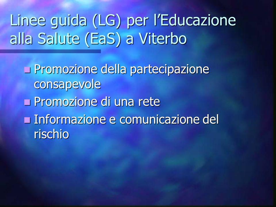 Linee guida (LG) per lEducazione alla Salute (EaS) a Viterbo Promozione della partecipazione consapevole Promozione della partecipazione consapevole P