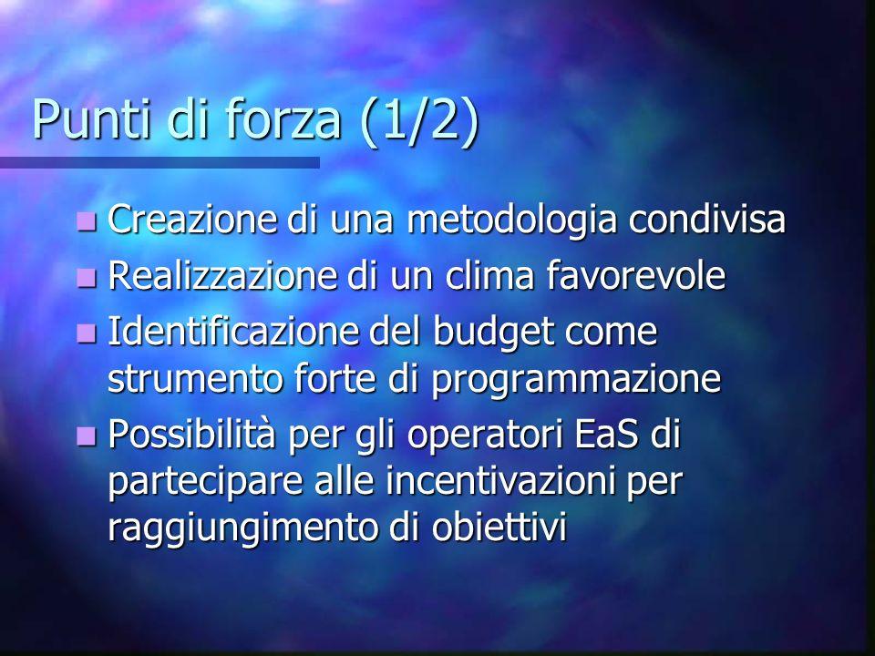 Punti di forza (1/2) Creazione di una metodologia condivisa Creazione di una metodologia condivisa Realizzazione di un clima favorevole Realizzazione