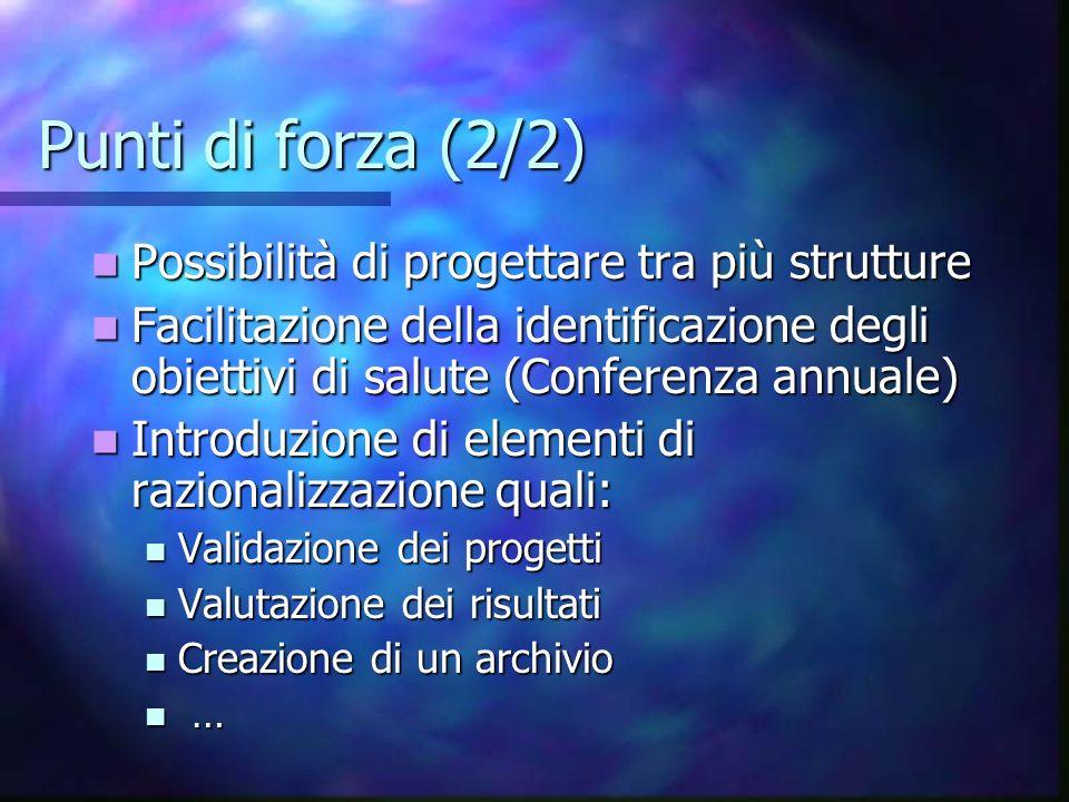 Punti di forza (2/2) Possibilità di progettare tra più strutture Possibilità di progettare tra più strutture Facilitazione della identificazione degli