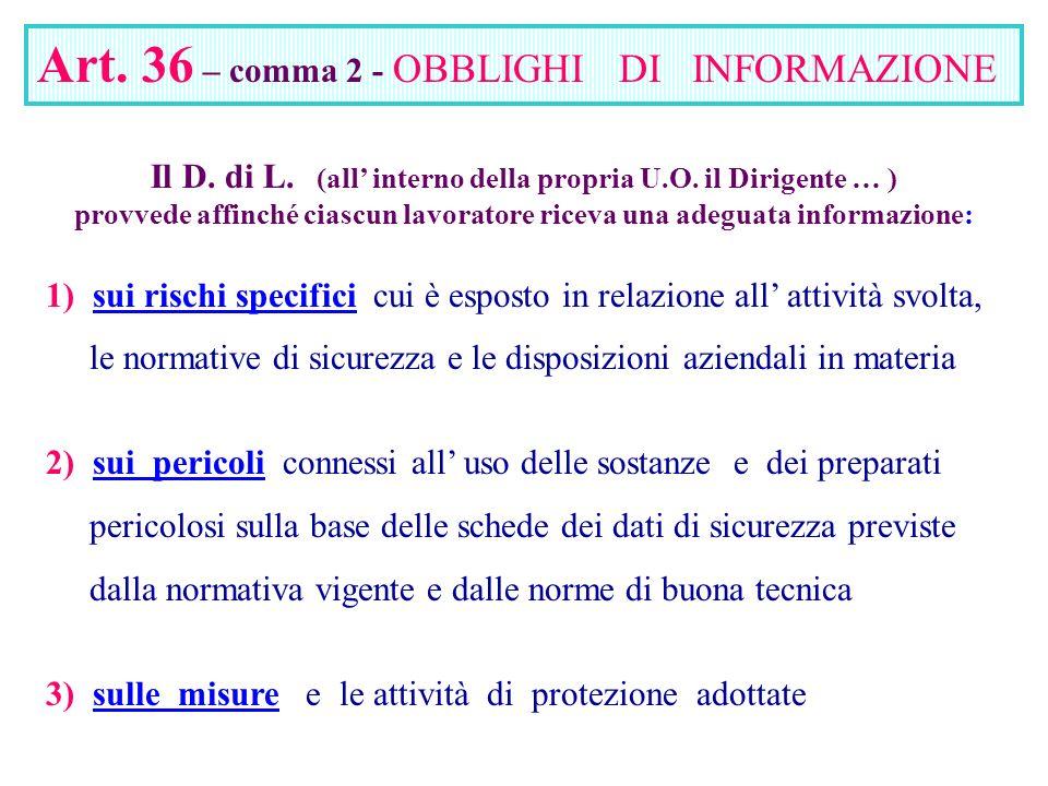 Art. 36 – comma 2 - OBBLIGHI DI INFORMAZIONE Il D. di L. (all interno della propria U.O. il Dirigente … ) provvede affinché ciascun lavoratore riceva