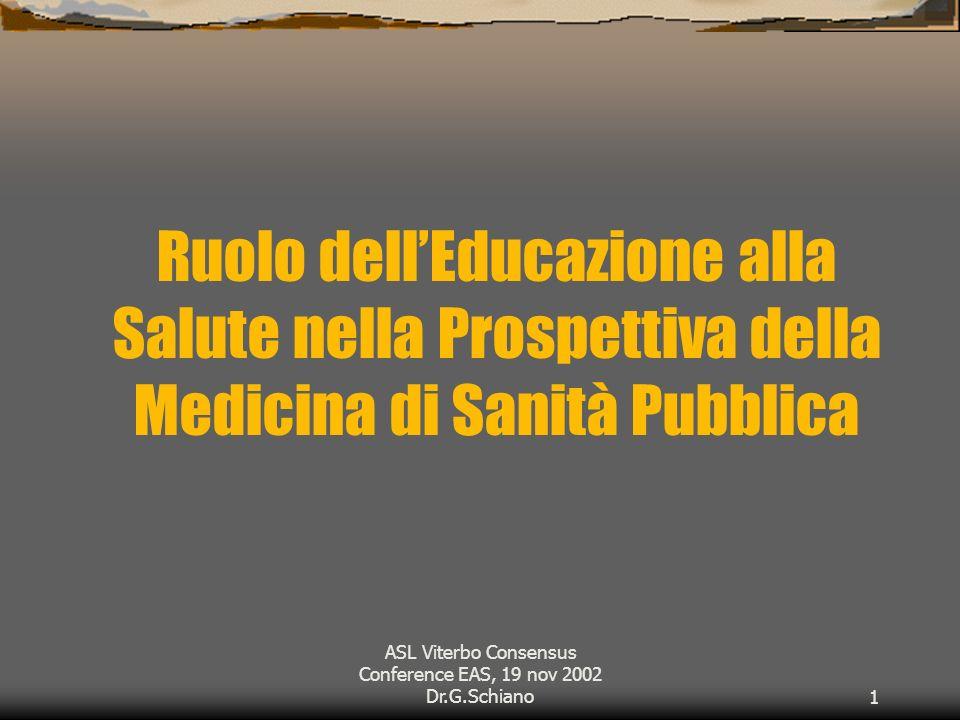 ASL Viterbo Consensus Conference EAS, 19 nov 2002 Dr.G.Schiano1 Ruolo dellEducazione alla Salute nella Prospettiva della Medicina di Sanità Pubblica