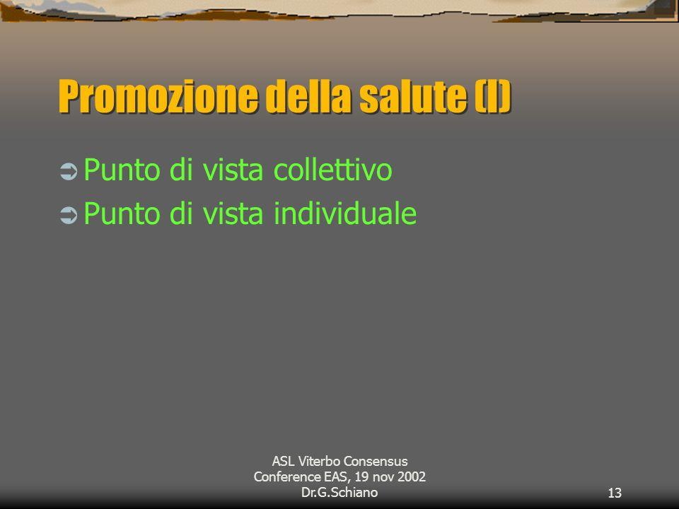 ASL Viterbo Consensus Conference EAS, 19 nov 2002 Dr.G.Schiano13 Promozione della salute (I) Punto di vista collettivo Punto di vista individuale