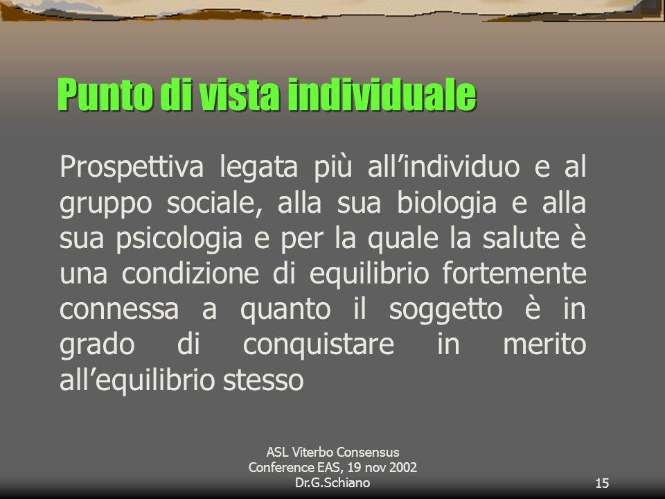 ASL Viterbo Consensus Conference EAS, 19 nov 2002 Dr.G.Schiano15 Punto di vista individuale Prospettiva legata più allindividuo e al gruppo sociale, alla sua biologia e alla sua psicologia e per la quale la salute è una condizione di equilibrio fortemente connessa a quanto il soggetto è in grado di conquistare in merito allequilibrio stesso