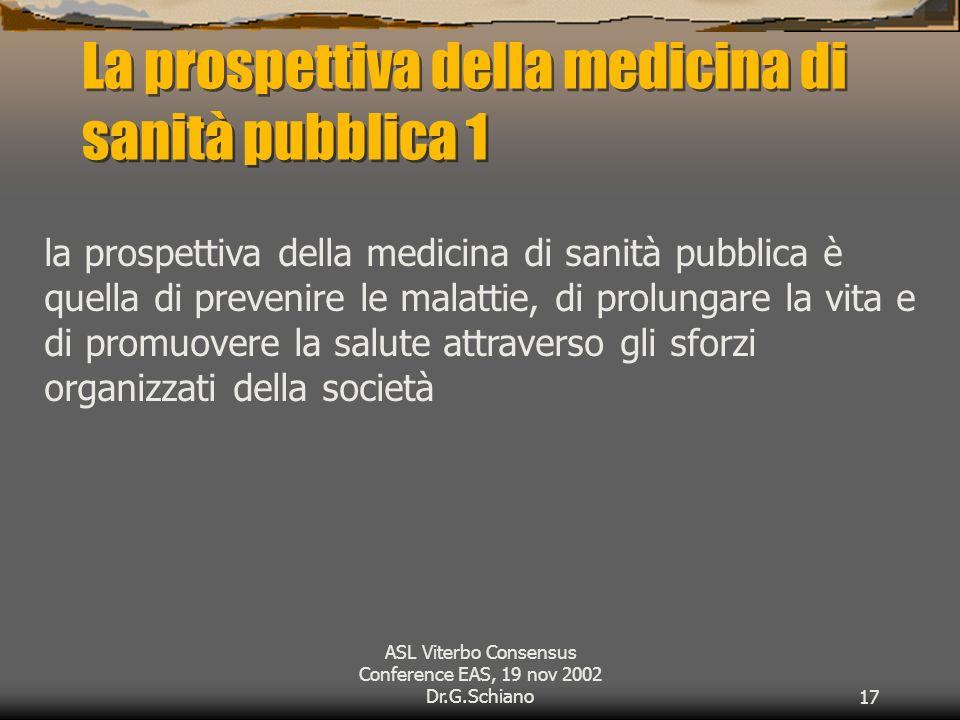 ASL Viterbo Consensus Conference EAS, 19 nov 2002 Dr.G.Schiano17 La prospettiva della medicina di sanità pubblica 1 la prospettiva della medicina di sanità pubblica è quella di prevenire le malattie, di prolungare la vita e di promuovere la salute attraverso gli sforzi organizzati della società