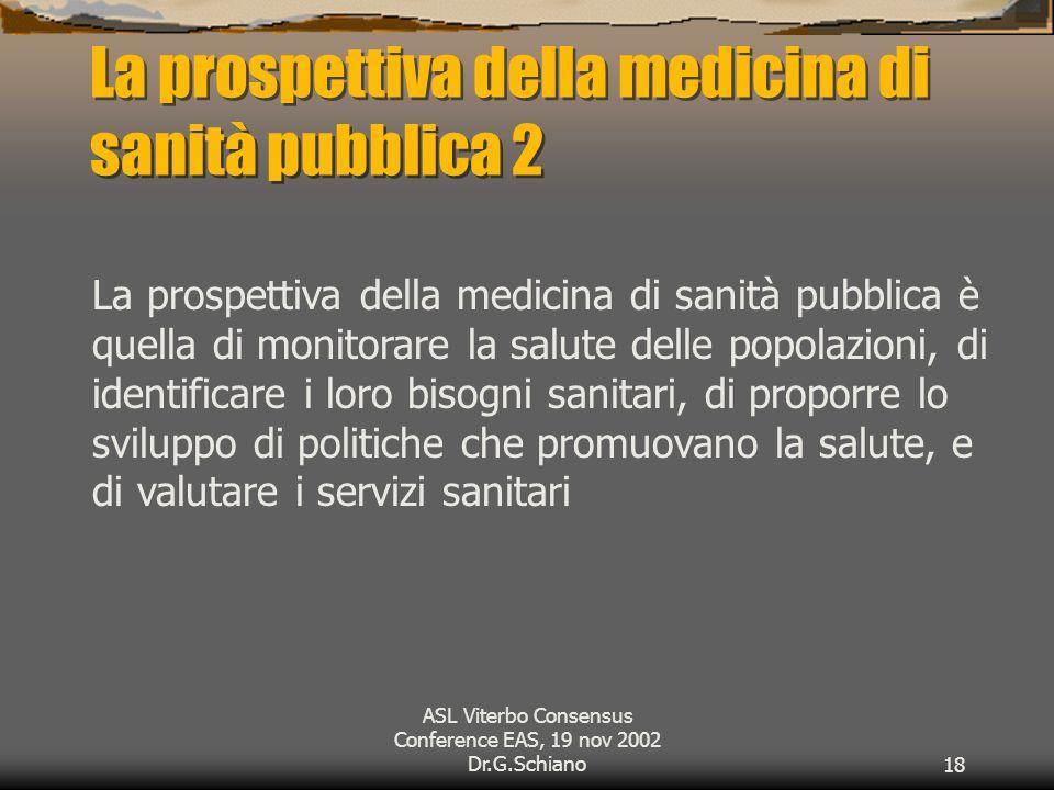 ASL Viterbo Consensus Conference EAS, 19 nov 2002 Dr.G.Schiano18 La prospettiva della medicina di sanità pubblica 2 La prospettiva della medicina di sanità pubblica è quella di monitorare la salute delle popolazioni, di identificare i loro bisogni sanitari, di proporre lo sviluppo di politiche che promuovano la salute, e di valutare i servizi sanitari
