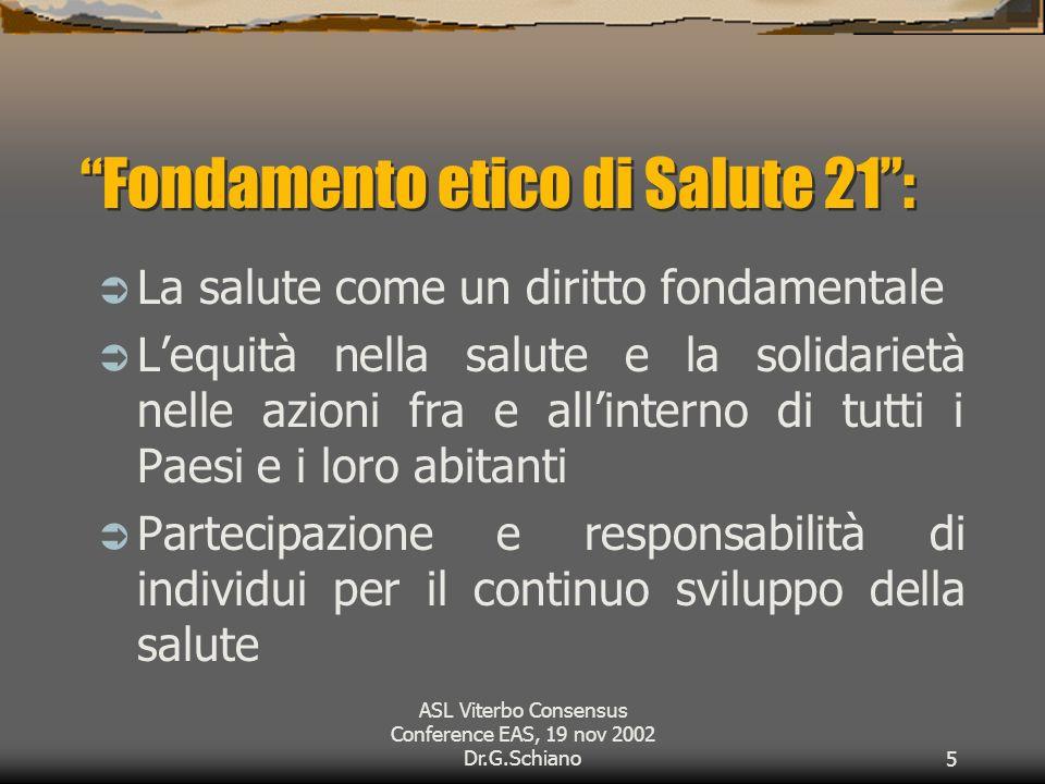 ASL Viterbo Consensus Conference EAS, 19 nov 2002 Dr.G.Schiano5 Fondamento etico di Salute 21: La salute come un diritto fondamentale Lequità nella salute e la solidarietà nelle azioni fra e allinterno di tutti i Paesi e i loro abitanti Partecipazione e responsabilità di individui per il continuo sviluppo della salute