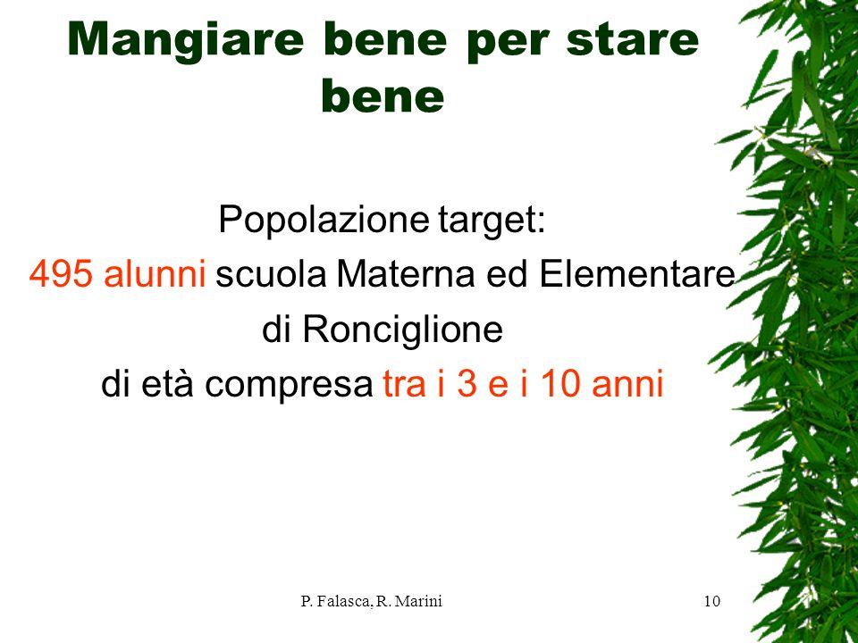 P. Falasca, R. Marini10 Mangiare bene per stare bene Popolazione target: 495 alunni scuola Materna ed Elementare di Ronciglione di età compresa tra i