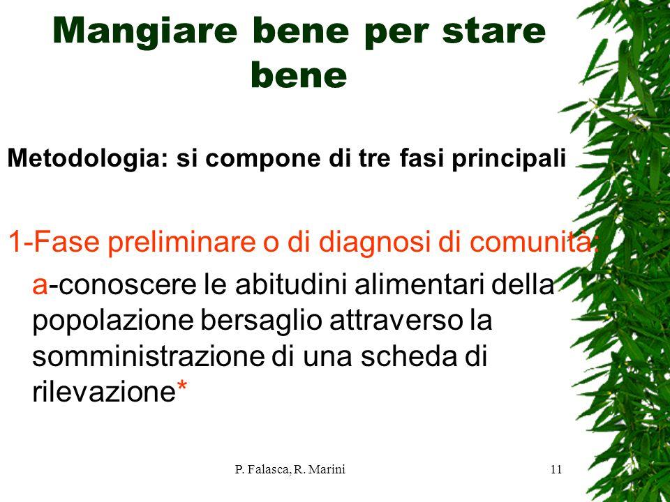 P. Falasca, R. Marini11 Mangiare bene per stare bene Metodologia: si compone di tre fasi principali 1-Fase preliminare o di diagnosi di comunità: a-co