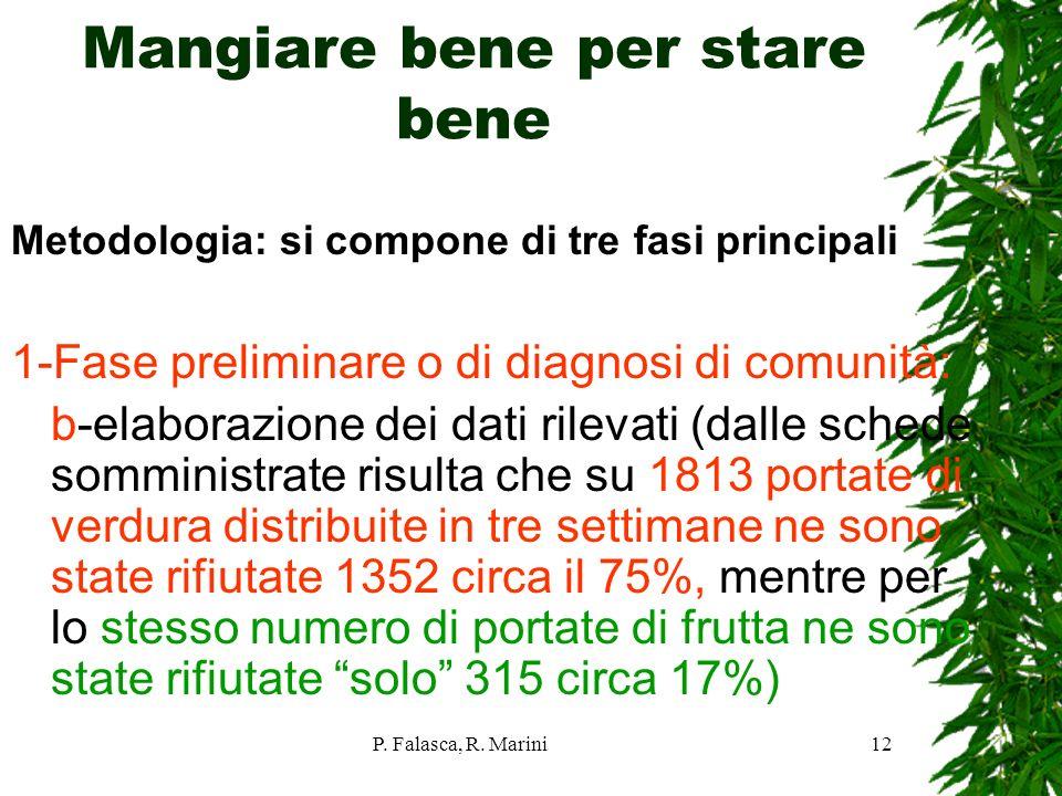 P. Falasca, R. Marini12 Mangiare bene per stare bene Metodologia: si compone di tre fasi principali 1-Fase preliminare o di diagnosi di comunità: b-el