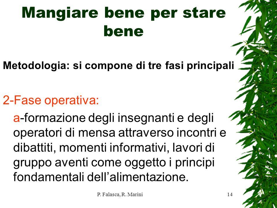 P. Falasca, R. Marini14 Mangiare bene per stare bene Metodologia: si compone di tre fasi principali 2-Fase operativa: a-formazione degli insegnanti e