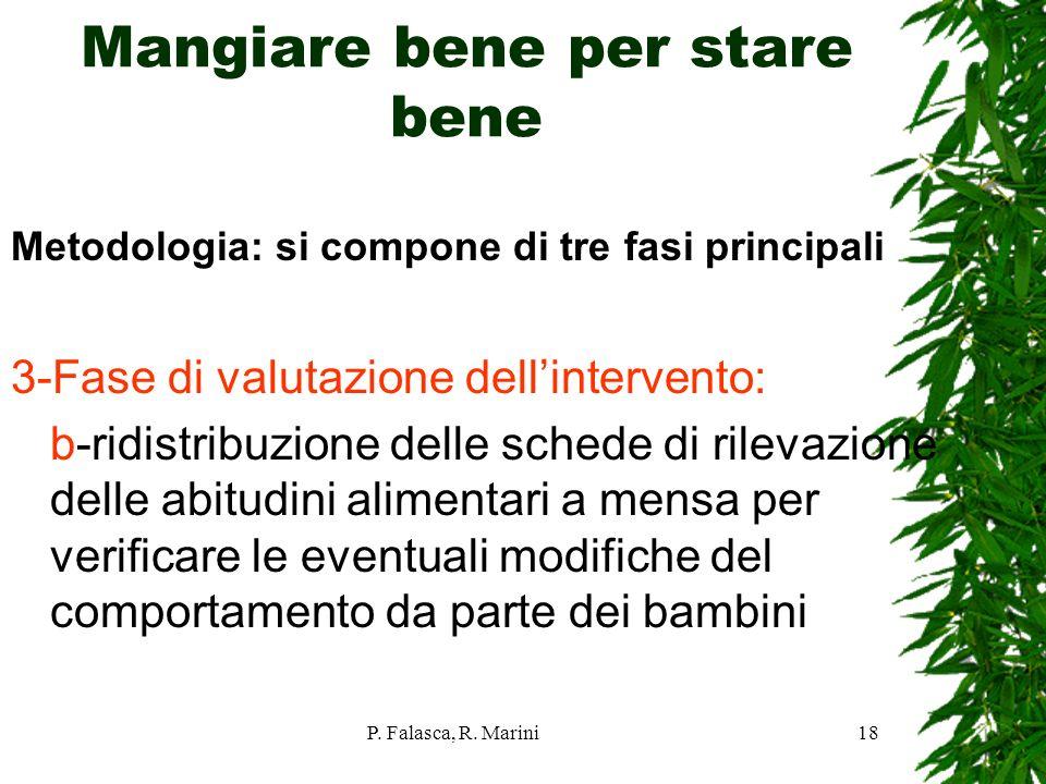 P. Falasca, R. Marini18 Mangiare bene per stare bene Metodologia: si compone di tre fasi principali 3-Fase di valutazione dellintervento: b-ridistribu