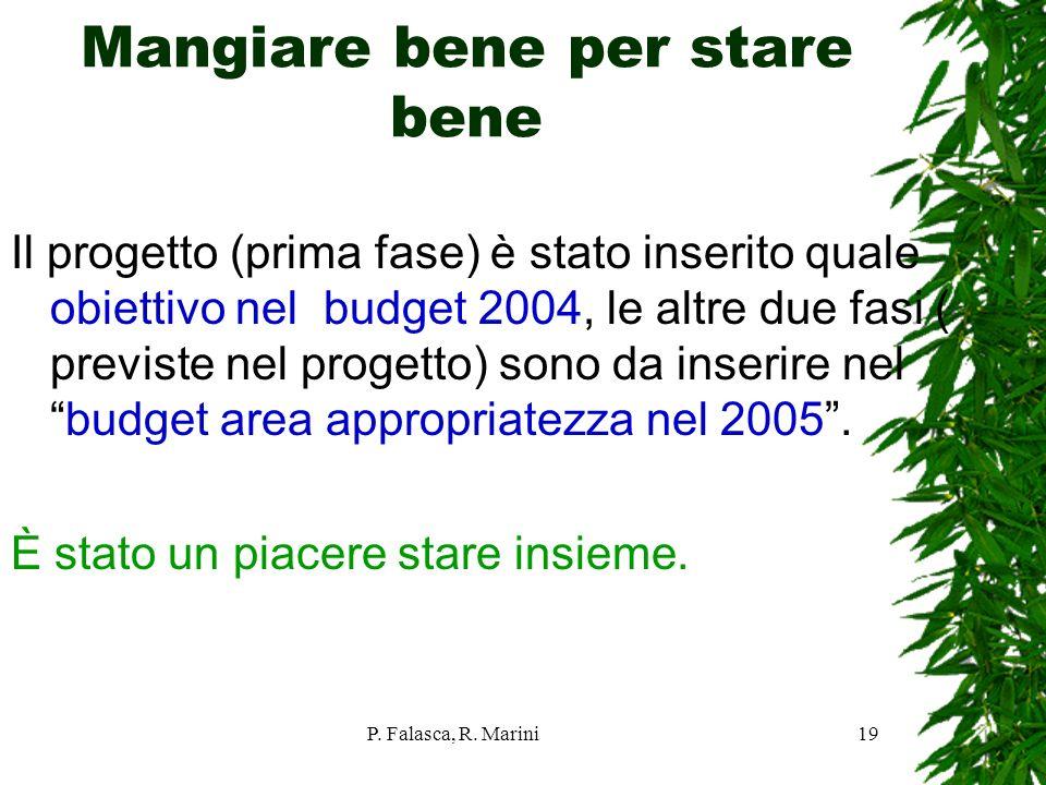 P. Falasca, R. Marini19 Mangiare bene per stare bene Il progetto (prima fase) è stato inserito quale obiettivo nel budget 2004, le altre due fasi ( pr