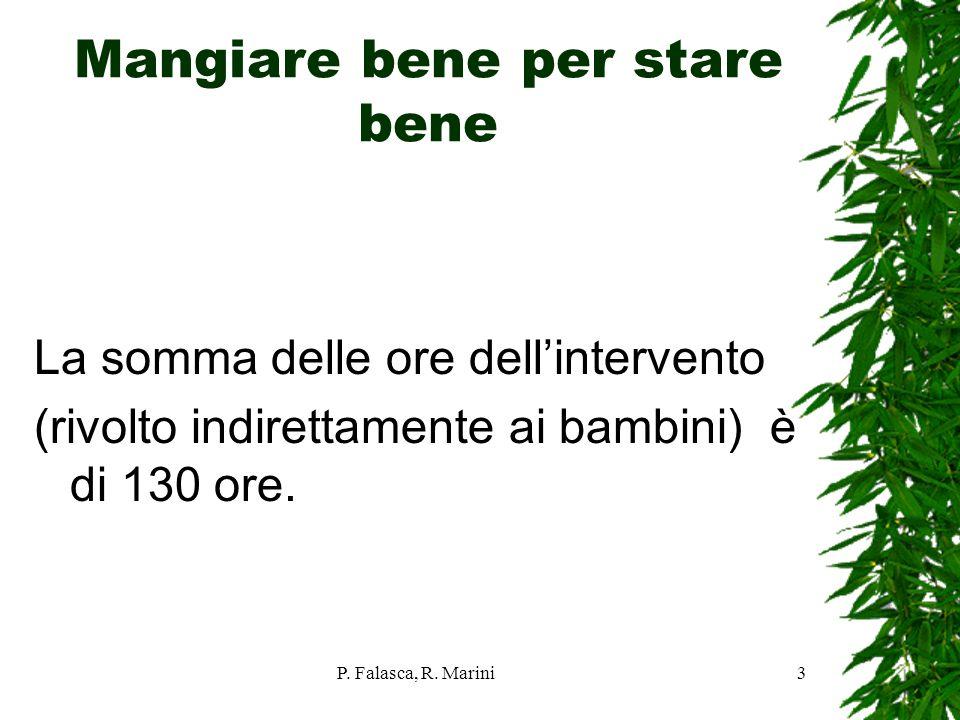 P. Falasca, R. Marini3 Mangiare bene per stare bene La somma delle ore dellintervento (rivolto indirettamente ai bambini) è di 130 ore.