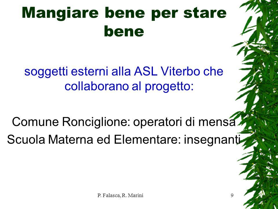 P. Falasca, R. Marini9 Mangiare bene per stare bene soggetti esterni alla ASL Viterbo che collaborano al progetto: Comune Ronciglione: operatori di me