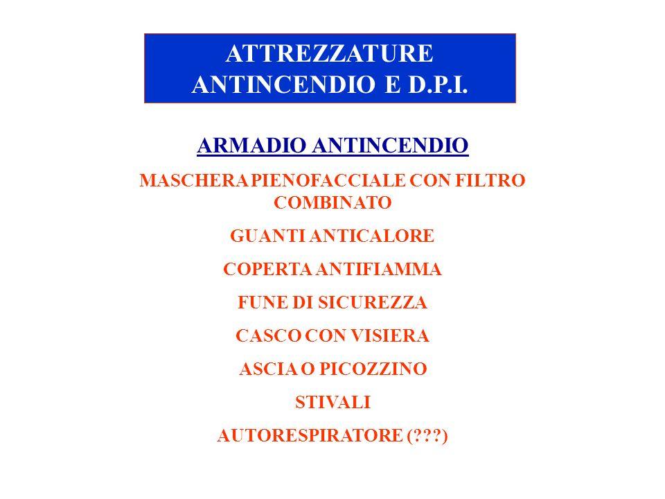 ATTREZZATURE ANTINCENDIO E D.P.I. ARMADIO ANTINCENDIO MASCHERA PIENOFACCIALE CON FILTRO COMBINATO GUANTI ANTICALORE COPERTA ANTIFIAMMA FUNE DI SICUREZ