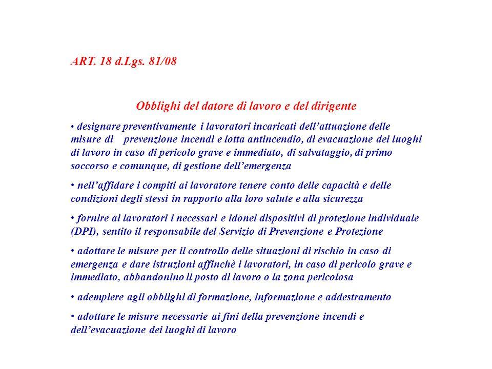 ART. 18 d.Lgs. 81/08 Obblighi del datore di lavoro e del dirigente designare preventivamente i lavoratori incaricati dellattuazione delle misure di pr