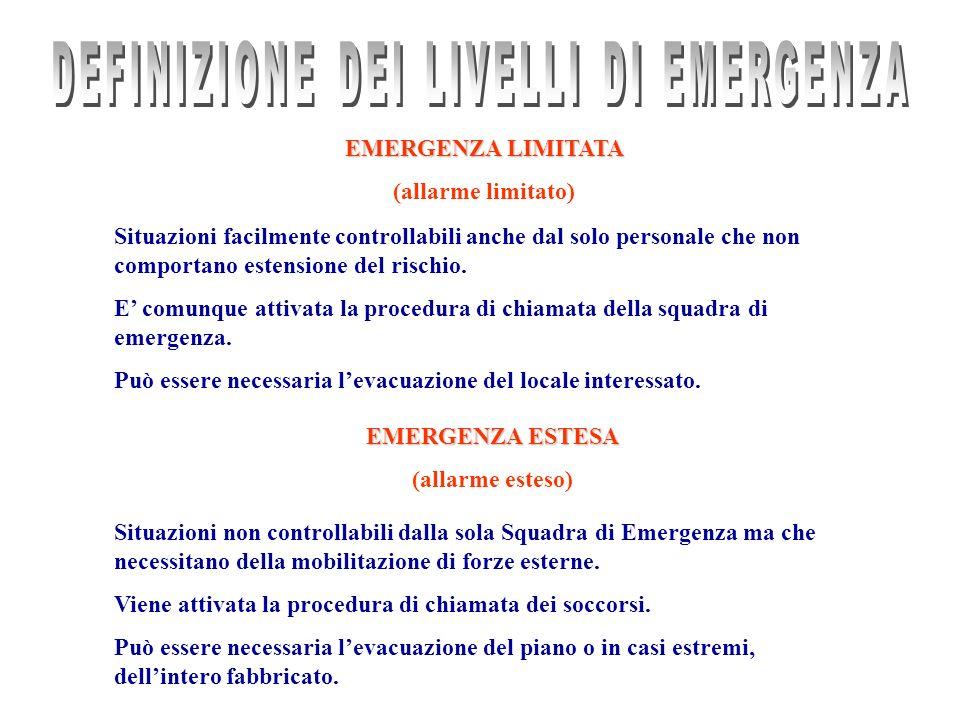 EMERGENZA LIMITATA (allarme limitato) Situazioni facilmente controllabili anche dal solo personale che non comportano estensione del rischio. E comunq