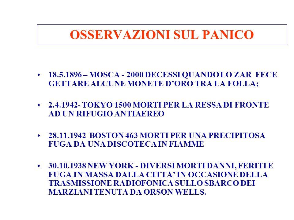OSSERVAZIONI SUL PANICO 18.5.1896 – MOSCA - 2000 DECESSI QUANDO LO ZAR FECE GETTARE ALCUNE MONETE DORO TRA LA FOLLA; 2.4.1942- TOKYO 1500 MORTI PER LA