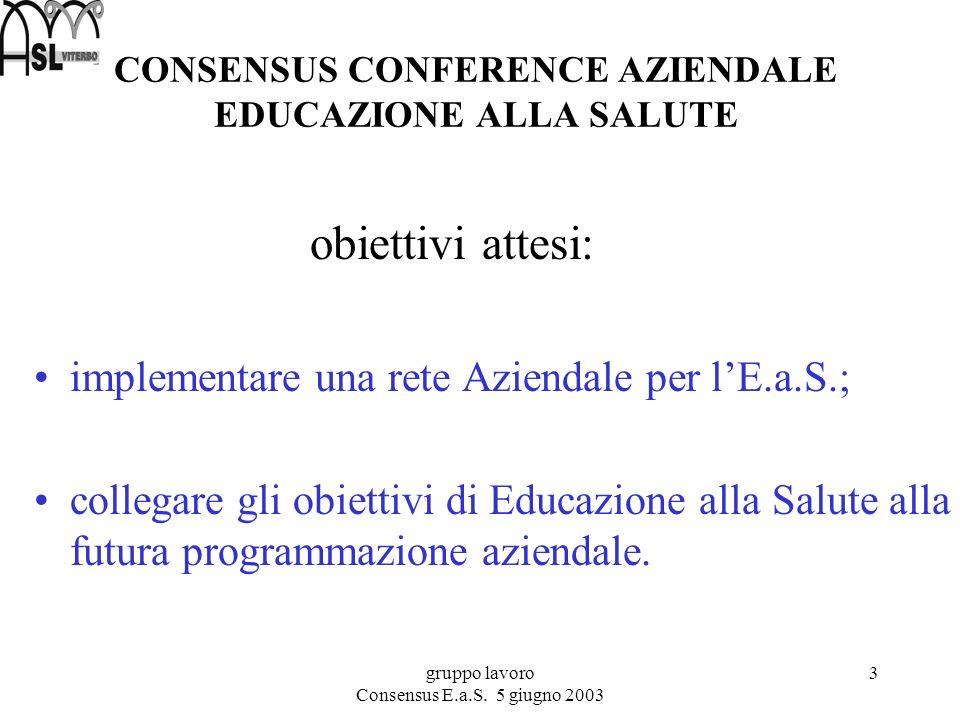 gruppo lavoro Consensus E.a.S. 5 giugno 2003 4 La storia