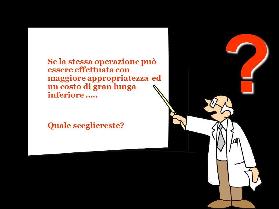 Se la stessa operazione può essere effettuata con maggiore appropriatezza ed un costo di gran lunga inferiore …..