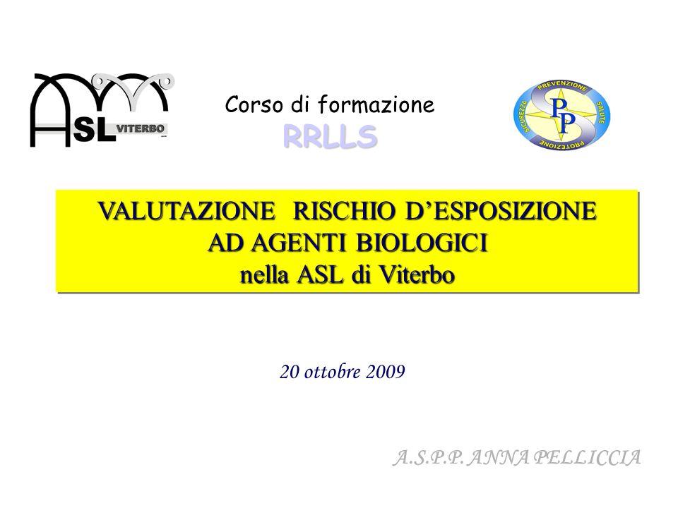 VALUTAZIONE RISCHIO DESPOSIZIONE AD AGENTI BIOLOGICI nella ASL di Viterbo VALUTAZIONE RISCHIO DESPOSIZIONE AD AGENTI BIOLOGICI nella ASL di Viterbo RR